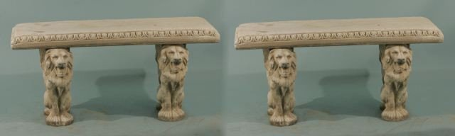 16: PAIR OF CONCRETE BENCH WITH TWO LION PEDESTALS