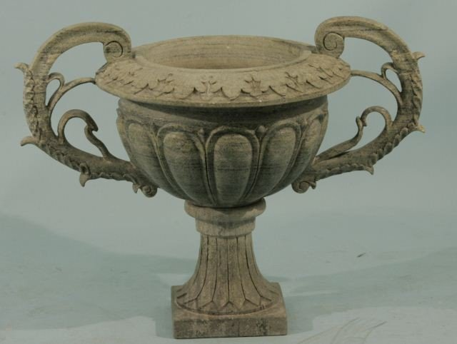 18: CARVED GREEN MARBLE URN WITH PEDESTAL &  HANDLES