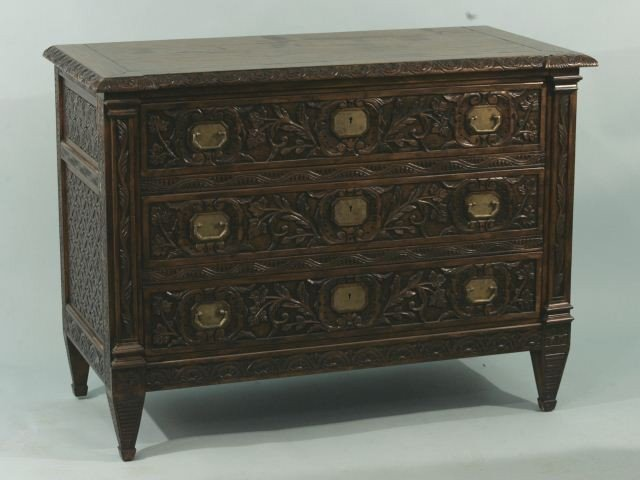 24: CARVED OAK SPANISH STYLE THREE DRAWER CHEST