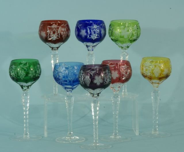 25: EIGHT ASSORTED COLOR CUT GLASS WINE GOBLETS