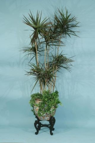 8: CHINESE FISHBOWL WITH TALL ARTIFICIAL PLANT
