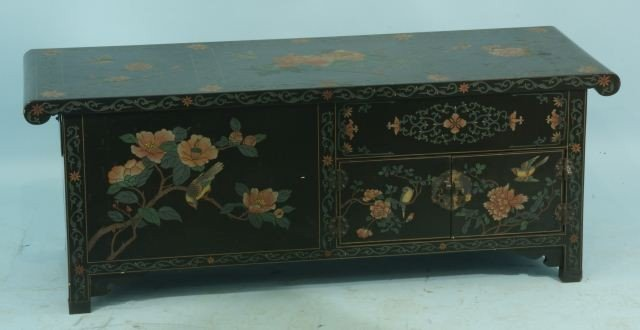 9: BLACK LACQUER ORIENTAL COFFEE TABLE