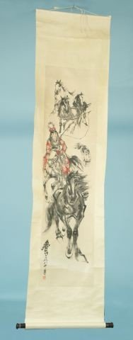 16: CHINESE SCROLL OF LADY AND HORSES