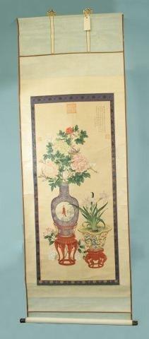20: SHIH-NING LANG ARTIST SIGNED 18th CENTURY SCROLL