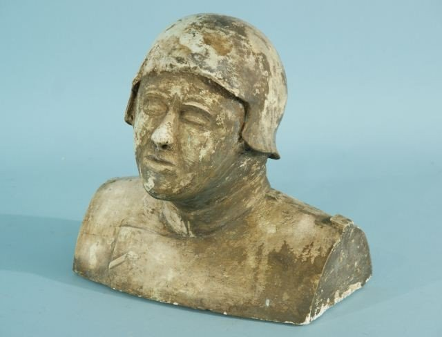 1: 1920'S CHALK BUST OF A MILITARY GERMAN FIGURE