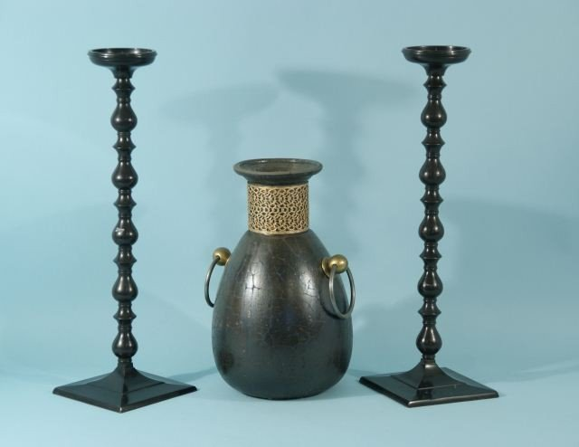 4: PAIR OF EBONY CANDLESTICKS AND CERAMIC URN