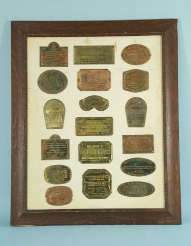 12: FRAMED COLLECTION OF METAL STREET PLAQUES