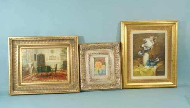 16: LOT OF THREE GILT FRAME OIL PAINTINGS