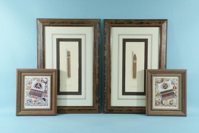 17: FOUR FRAMED AND MATTED PRINTS OF CUBAN CIGARS