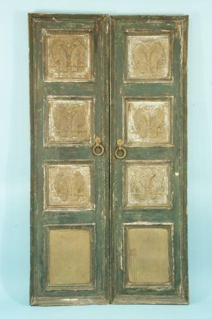 188: MOGHUL HAND CARVED DOORS WITH REPOUSSE PLA