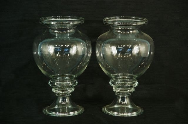 1: PAIR OF LARGE GLASS URNS