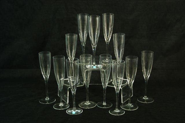 3: LOT OF THIRTEEN CHAMPAGNE GLASSES