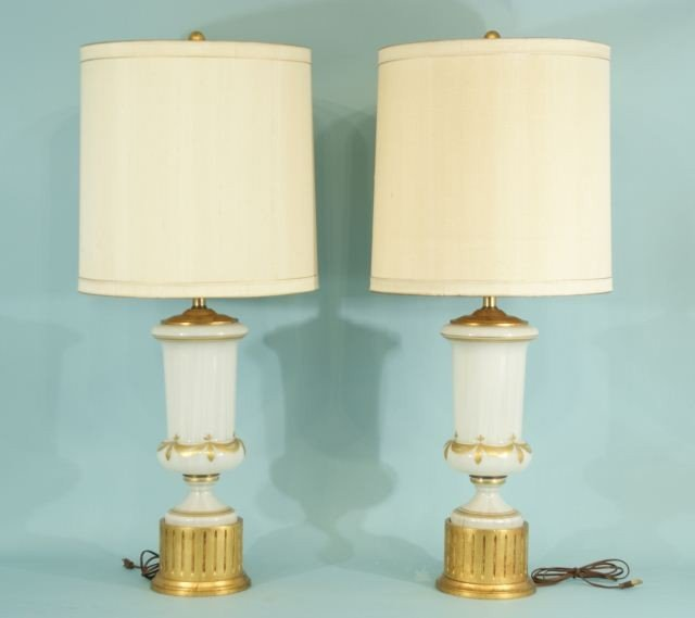 7: RETRO GLASS WITH GILTWOOD LAMPS, CIRCA 1950's