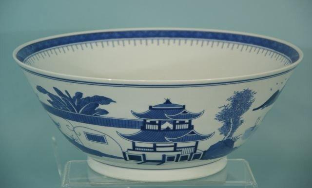 14: LARGE CHINESE BLUE & WHITE PORCELAIN BOWL