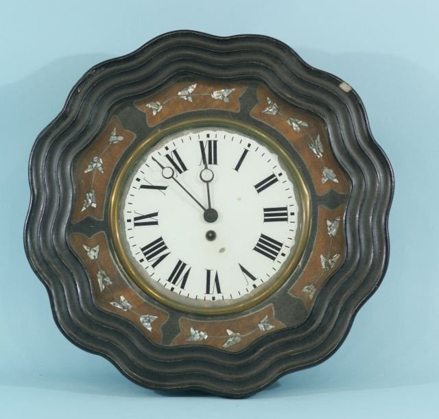 15: WALL CLOCK WITH MOTHER-OF-PEARL INLAY