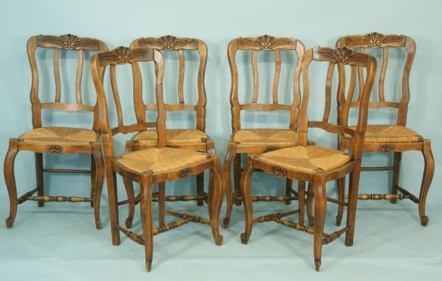 17: SET OF SIX COUNTRY FRENCH OAK SIDE CHAIRS