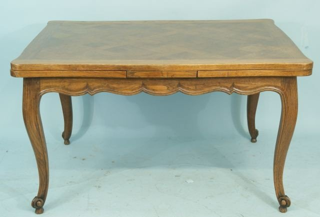 18: COUNTRY FRENCH OAK DRAW-LEAF TABLE