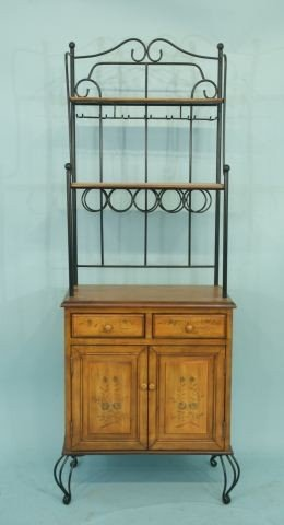 19: COUNTRY FRENCH IRON AND WOOD ETAGERE