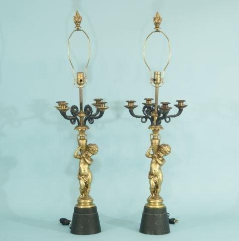 22: PAIR OF GILT BRONZE NEOCLASSICAL PUTTI LAMPS
