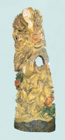 40A: MONUMENTAL CHINESE WOOD CARVED ORIENTAL SCULPTURE