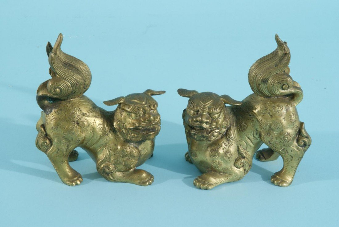 7: PAIR OF BRASS FOO DOG STATUES