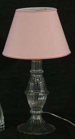 8: HAND BLOWN MURANO GLASS LAMP WITH PINK SHADE