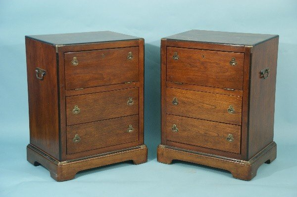 16: PAIR OF THREE-DRAWER CAMPAIGN STYLE NIGHTSTANDS
