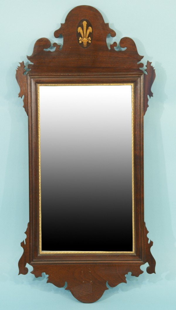 21: FRAMED BEVELED MIRROR WITH INLAID CREST