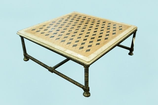 55: VINTAGE STONE TOP BRONZE BASE COFFEE TABLE