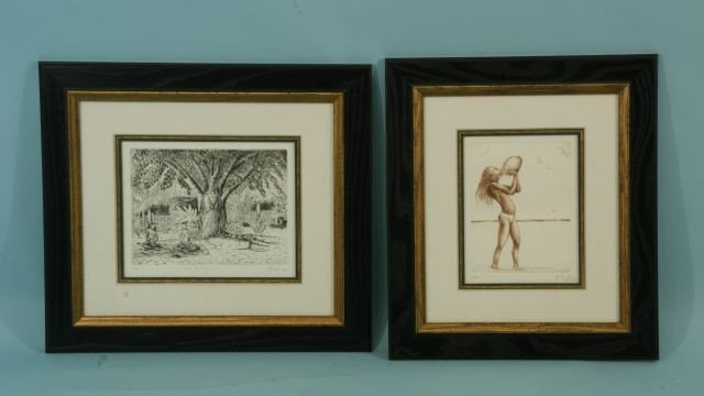 """9: TWO """"TRIBAL WOMAN"""" & """"TRIBE FEASTING"""" LITHOGRAPHS"""