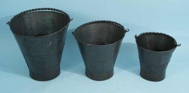 1: NEST OF THREE METAL DECORATIVE BUCKETS