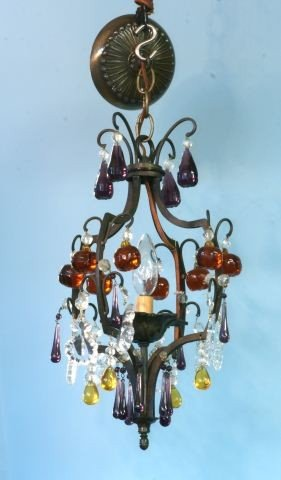 10: BRONZE AND CRYSTAL CHANDELIER, CIRCA 19th