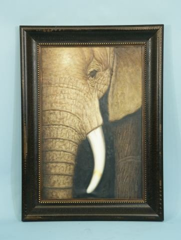 15: FRAMED ELEPHANT PAINTING