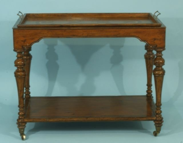 24: INTAGLIO TEA CART ON CASTERS WITH INLAY