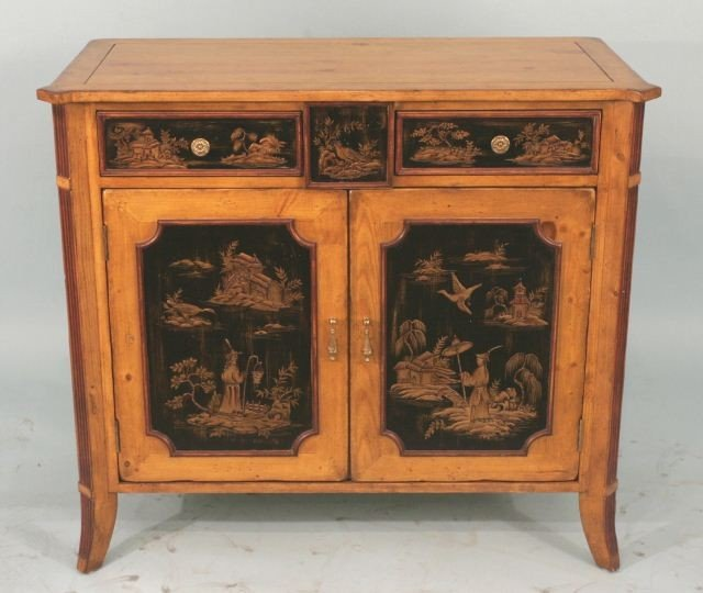 26: CHINOISERIE STYLE CHEST WITH TWO DRAWERS & CABINET
