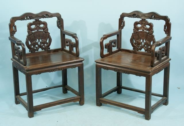 27: PAIR OF ANTIQUE CARVED CHINESE ARMCHAIRS