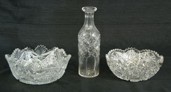 4: TWO CUT GLASS BOWLS AND VASE
