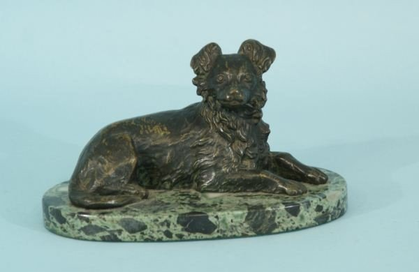 8: 19th CENTURY BRONZE DOG SCULPTURE ON MARBLE BASE