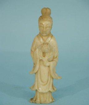 11: ANTIQUE CHINESE WHITE JADE KWAN YIN BUDDHA