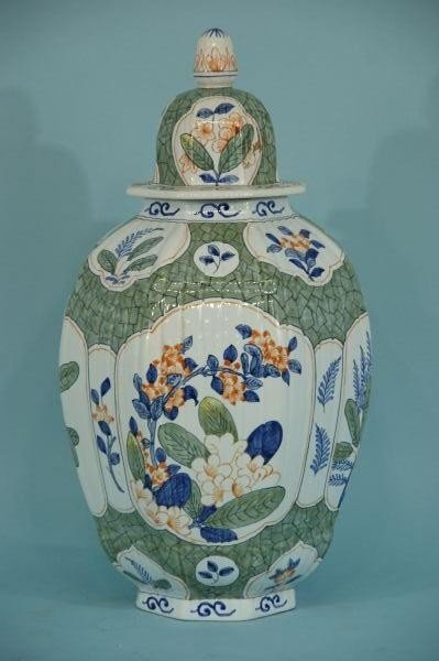 12: HAND PAINTED FRENCH JAR, MADE TIFFANY, CIRCA 1950