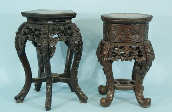 13: TWO 19th CENTURY CHINESE CARVED ROSEWOOD MARBLE
