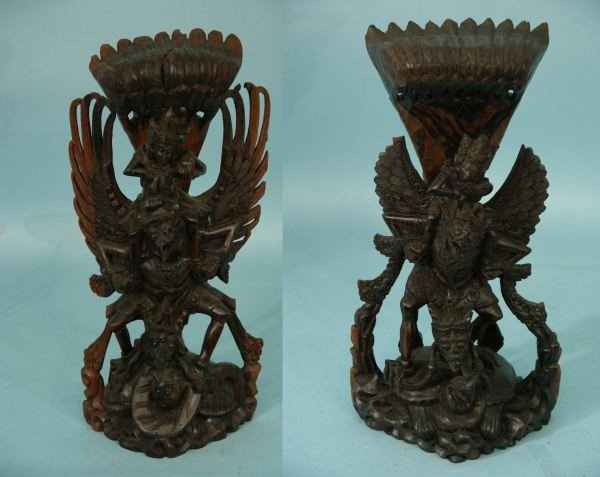 15: TWO ANTIQUE THAI WOODEN TEMPLE CARVINGS
