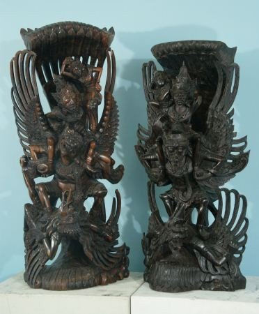 21: TWO ANTIQUE THAI WOODEN TEMPLE CARVINGS