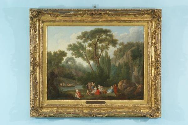 41: NICOLAS TAUNAY PICNIC SCENE OIL, CIRCA 1820