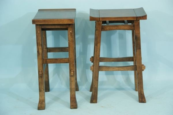 PAIR OF ARTS AND CRAFTS STYLE BAR STOOLS