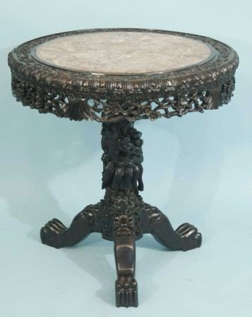 120I: 19th CENTURY CHINESE MARBLE TOP TABLE