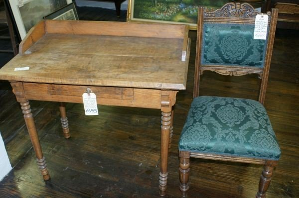 6: Antique pine desk& chair