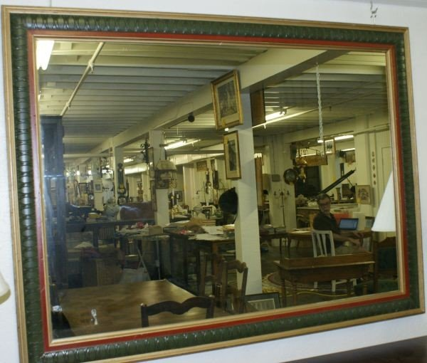 12: Large mirror with green & gold frame