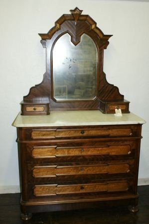 18: Victorian dresser with marble top and mirrror