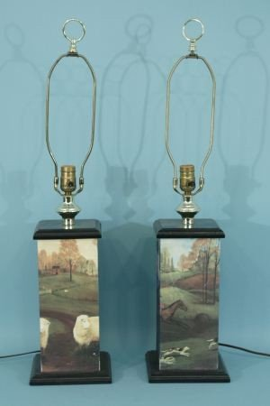 2: PAIR OF HUNT SCENE PAINTED WOODEN LAMPS